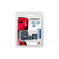 Kingston - Tarjeta de memoria flash ( adaptador microSDHC a SD Incluido ) - 8GB - Class 4 - microSDHC
